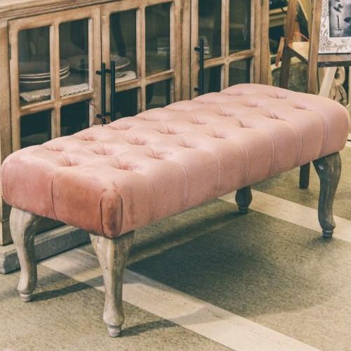 Bancheta Rose din lemn si tapiterie roz 100x40 cm