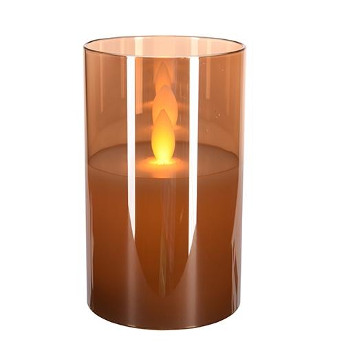 Lumanare Amber din sticla cu LED 13 cm chicville 2021
