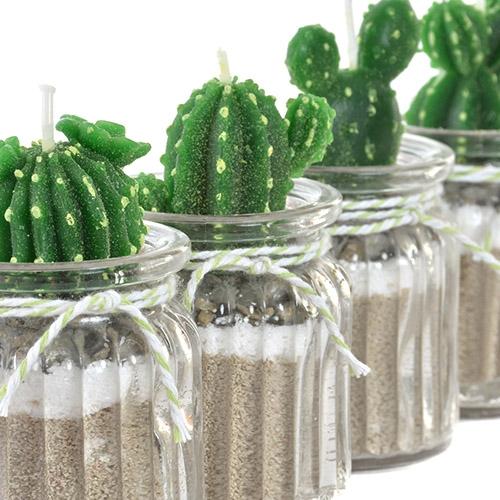 Lumanare Cactus din sticla si ceara 9cm - modele diverse chicville 2021