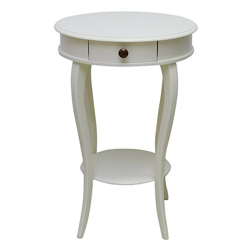 Masuta rotunda Belle din lemn alb 75x50 cm