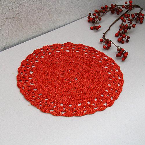 Napron Crochet rosu 37 cm chicville 2021