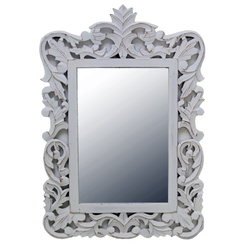 Oglinda Contessa din lemn alb 45x65 cm