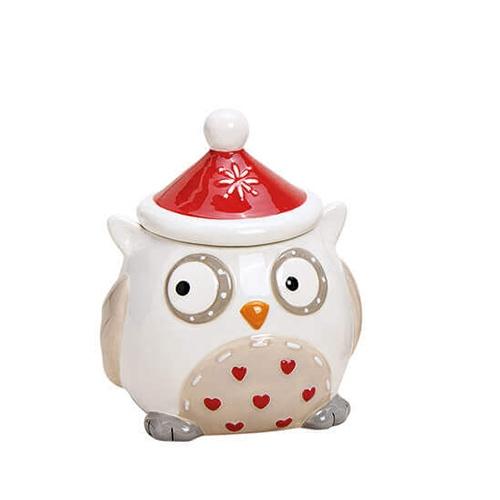 Recipient Owl din ceramica alba 9x11 cm chicville 2021
