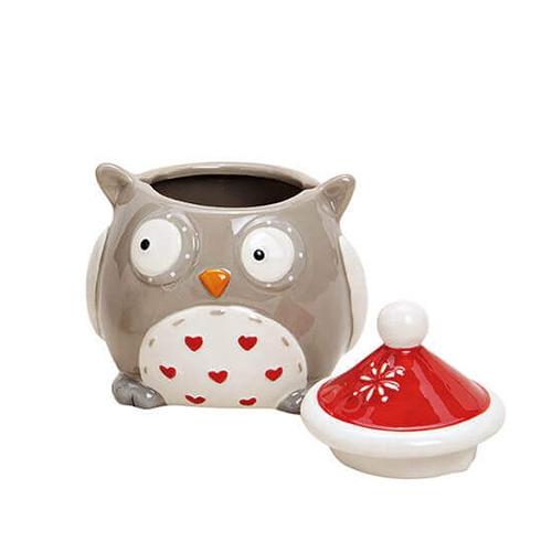 Recipient Owl din ceramica gri 9x11 cm chicville 2021