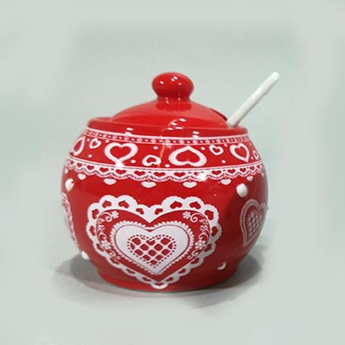 Recipient pentru zahar Winter din ceramica rosie 8 cm chicville 2021
