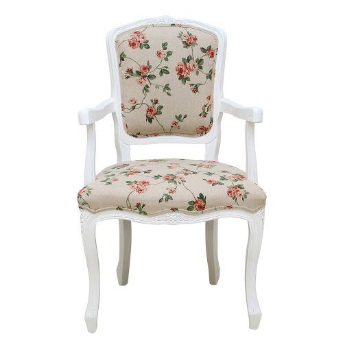Scaun cu cotiere Madame Coquette din lemn alb si tapiterie cu flori 59x47x95 cm