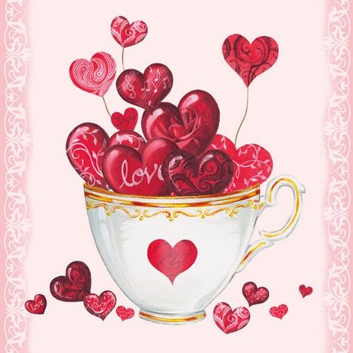 Servetele Cup of Hearts 33x33 cm chicville 2021