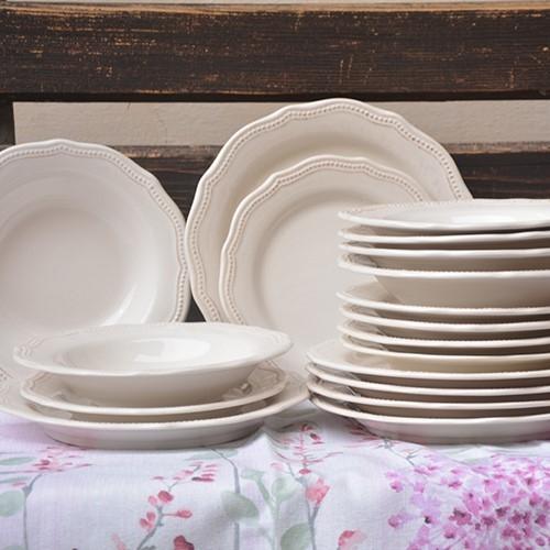 Set 18 farfurii Vintage din ceramica crem chicville 2021