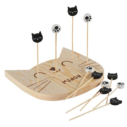 Set pentru aperitive Cats din lemn 15x14 cm chicville 2021