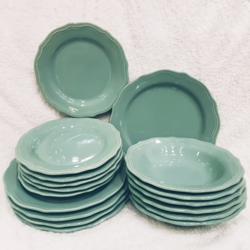 Set 18 farfurii Royal Turcoaz din ceramica chicville 2021