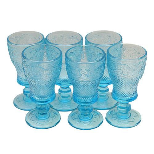 Set cu 6 pahare din sticla albastra 9.5 cm