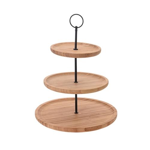Suport etajat Bamboo din lemn si metal 28x34 cm chicville 2021