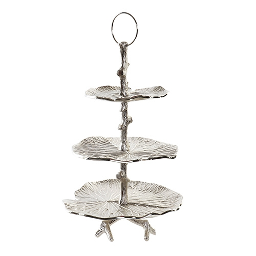 Suport etajat Lilies din metal argintiu 32x50 cm chicville 2021