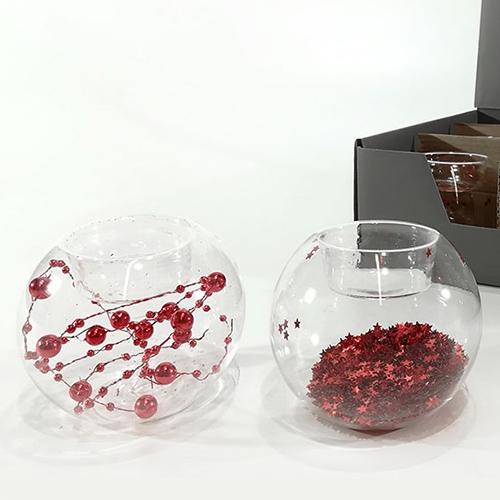 Suport pentru lumanare din sticla cu decor rosu 8 cm - modele diverse chicville 2021