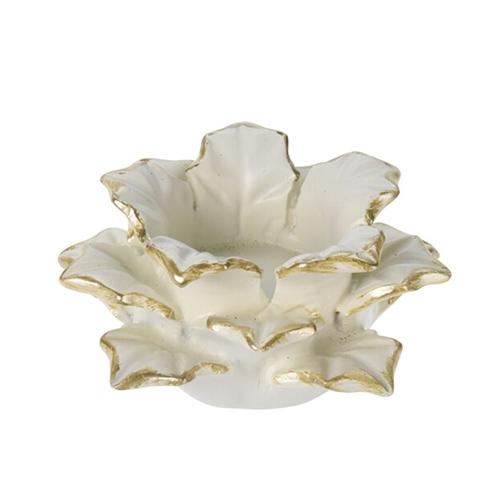 Suport pentru lumanare Poinsettia din polirasina alba 12x5.5 cm chicville 2021