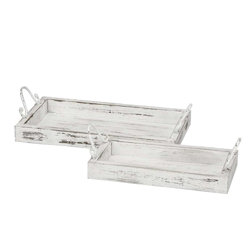 Tava dreptunghiulara Blanca din lemn alb 38x20 cm chicville 2021