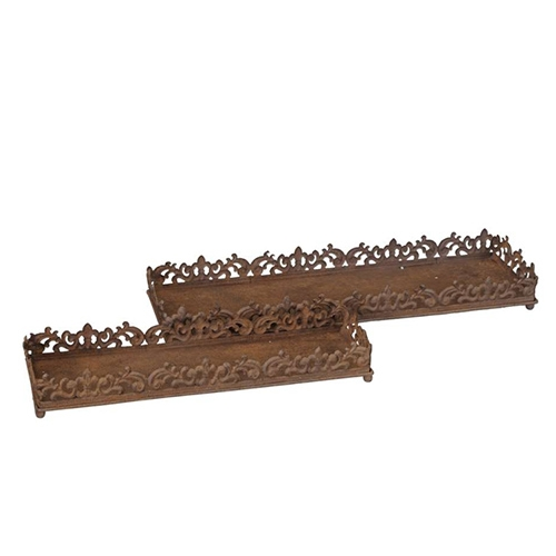 Tava Rusty din metal ruginiu 50x15x6 cm chicville 2021