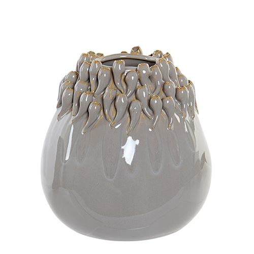 Vaza Grey din ceramica gri 18 cm chicville 2021